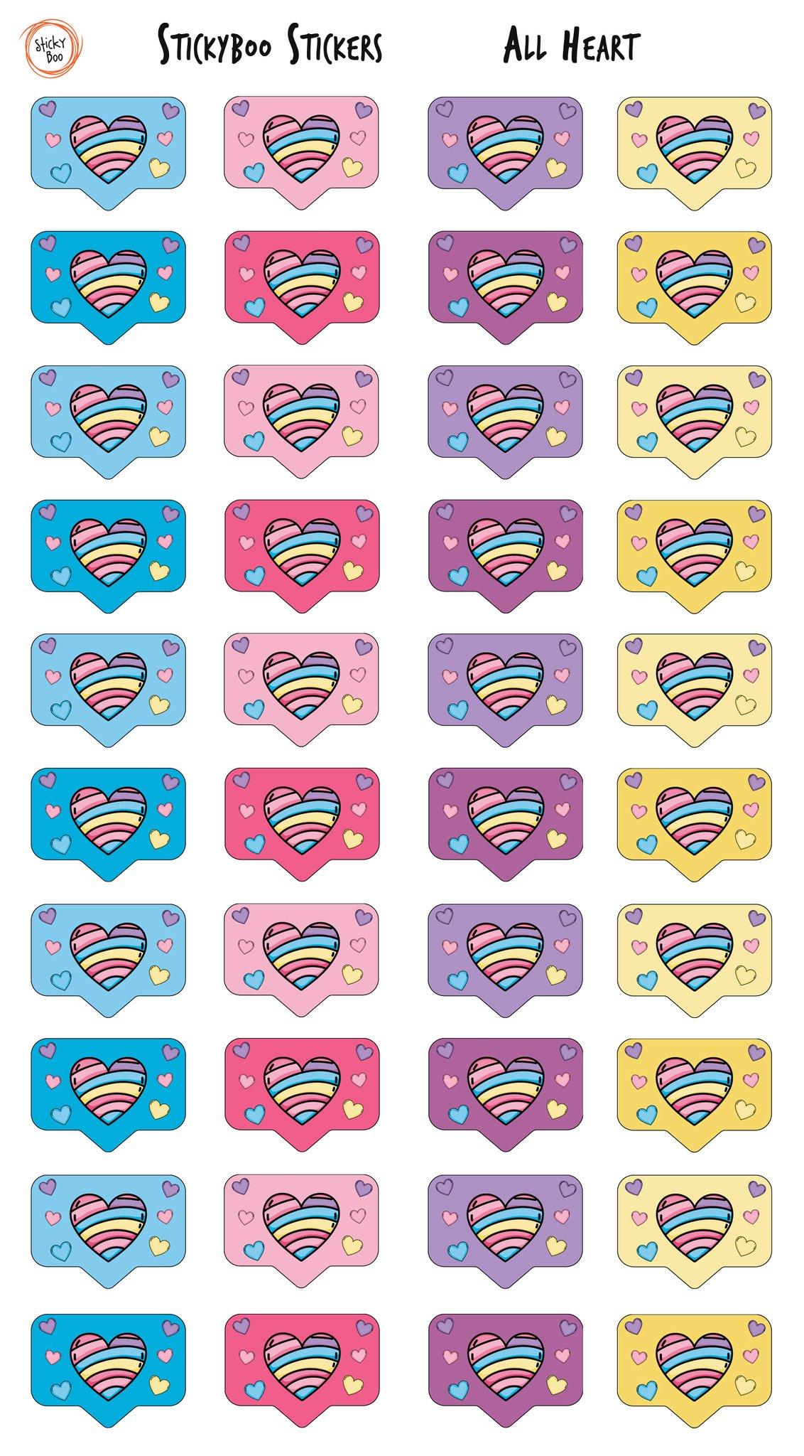 Sticky Boo Reward Stickers - All Heart