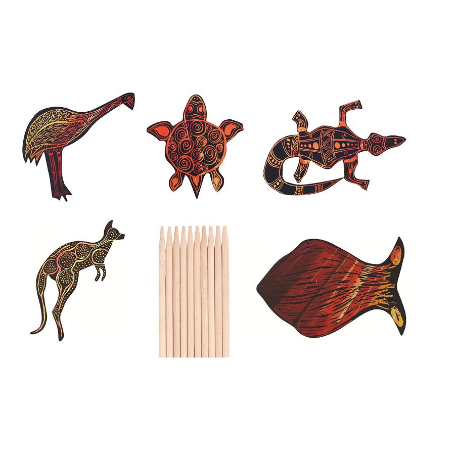 Scratch Art Australian Animals 30pk