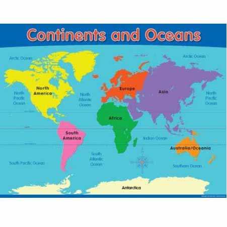 Continents and Oceans Chart