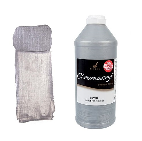 Chromacryl Student Acrylic 1Litre Silver