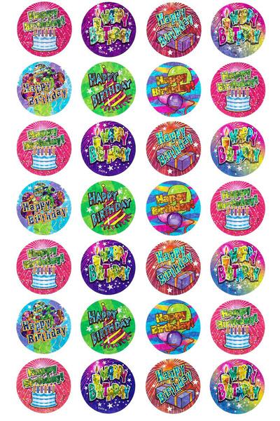 Birthday Stickers Laser Stickers 84 pack