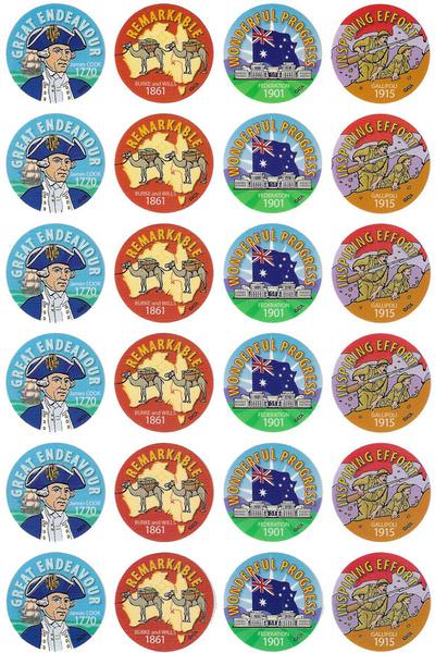 Australian History Stickers 96 pack
