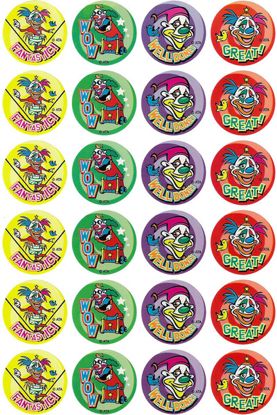 Clowns in Town Stickers 96 pack (MS034)
