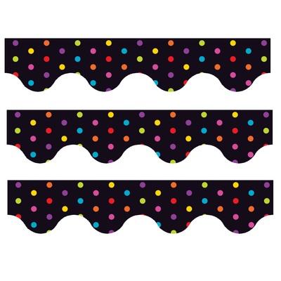 Multicolour Polka Dots (Black) - Scalloped Borders (Pack of 12)
