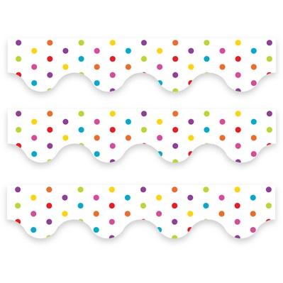 Multicolour Polka Dots (White) - Scalloped Borders (Pack of 12)