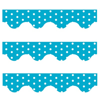 Blue Polka Dots - Scalloped Borders (Pack of 12)
