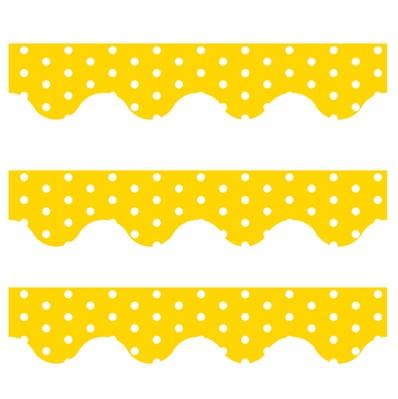 Yellow Polka Dots - Scalloped Borders (Pack of 12)