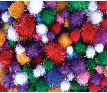 Pom Poms Assorted Glitter Colours