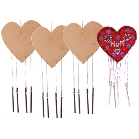 Heart Wind Chimes 10pack