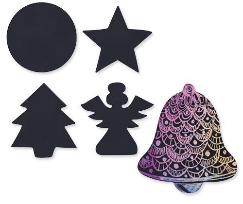 Scratch Art Christmas Shapes 30 pack