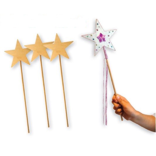 Wooden Star Wand 10 pack