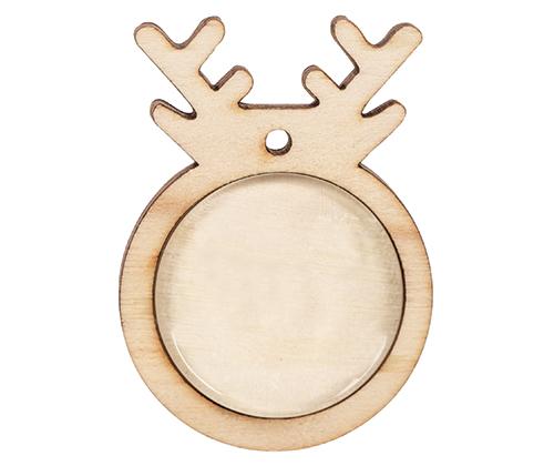 Wooden Reindeer Pendants with Cabochon 10s