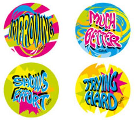 Encouragement Fluoro Stickers 96 pack (FS214)