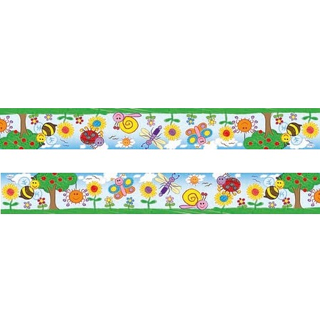 Bugs and Flowers Kids Drawn Large Self Adhesive Border