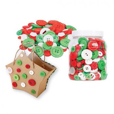 Buttons- Xmas Colours Asstd 600g