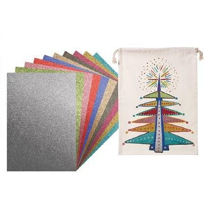 Glitter Iron on Sheets A4 10pack assorted
