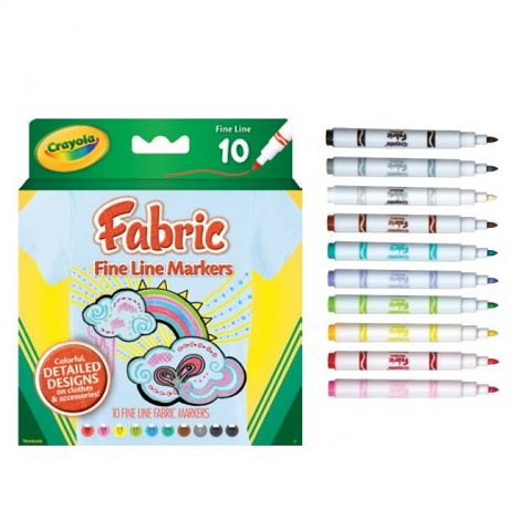 Crayola Fabric Markers 10 Fineliners