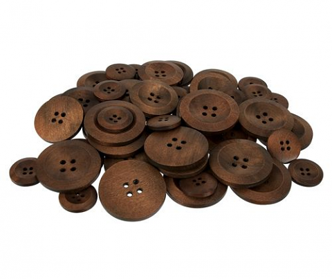 Wooden Buttons 50 pack (Natural Brown)