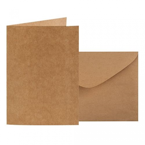 Kraft Card & Envelope 120 x 170mm (folded) 20