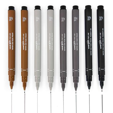 Uni Pin Fine Line Pens - Wallet of 12 mixed colours