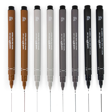 Uni Pin Fine Line Pens - Box of 12 mixed colours