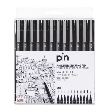Uni Pin Fine Line Pens - Wallet of 12