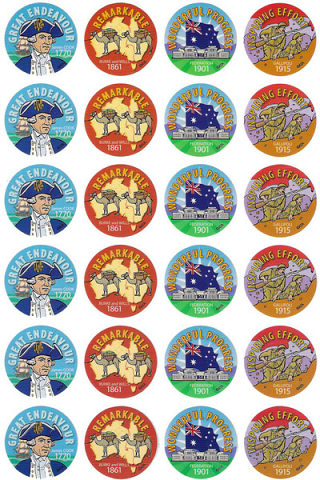 Australian History Stickers 96 pack
