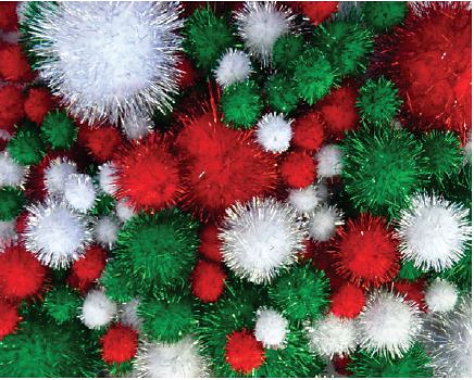 Pom Poms Glitter Christmas Colour