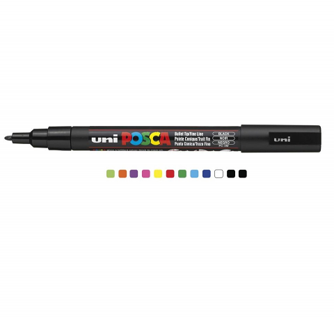 Posca Marker Fine 1.3mm 12pack Assorted (PC3)
