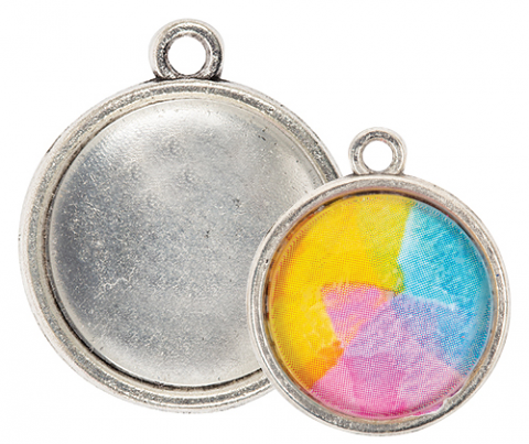 Earring Pendant Cabochon Setting 20mm 30s Silver