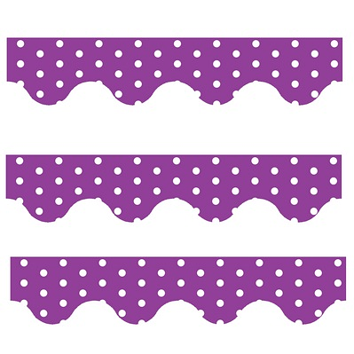 Purple Polka Dots - Scalloped Borders (Pack of 12)