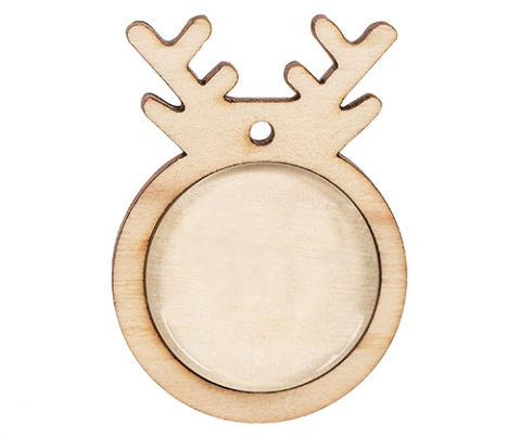 Wooden Reindeer Pendants with Cabochon 10s