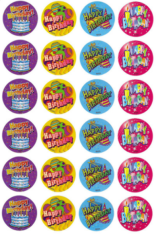 Happy Birthday Stickers 96 pack (MS058)