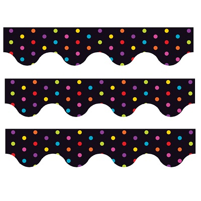 Multicolour Polka Dots (Black) - Scalloped Borders (Pack of 12)