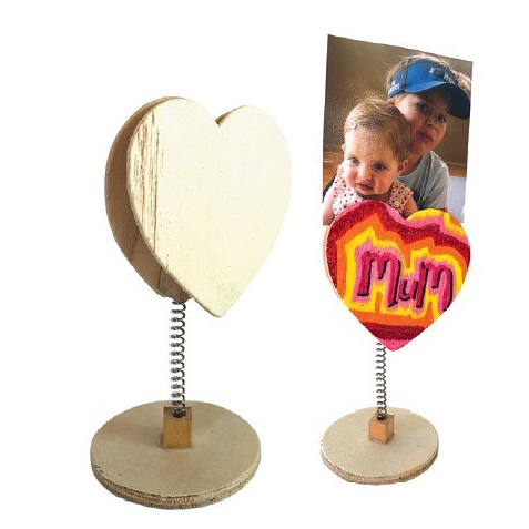 Wooden Memo Heart Stand
