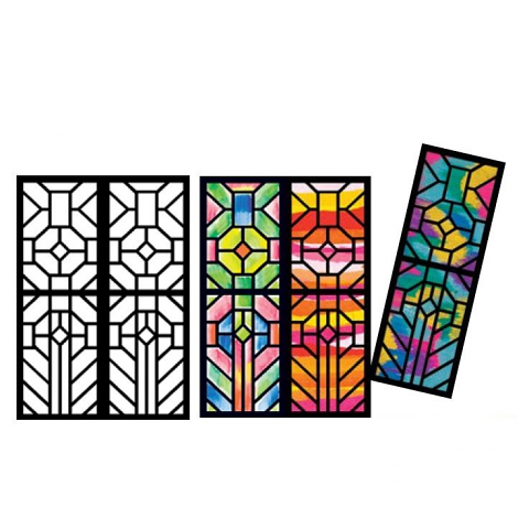 Cardboard Stained Glass Frames A4