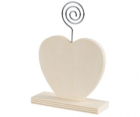 Wooden Stand with Photo Holder - Heart