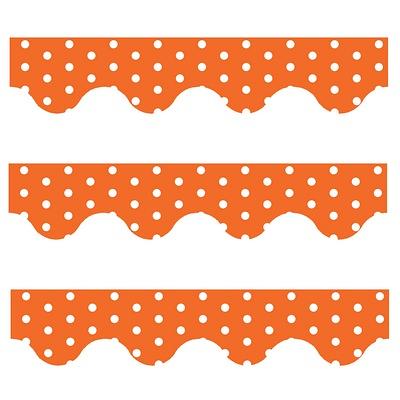 Orange Polka Dots - Scalloped Borders (Pack of 12)