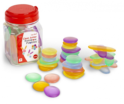 Clear Junior Rainbow Pebbles 36 Pieces Assorted