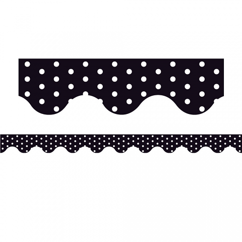 Black Polka Dots - Magnetic Scalloped Borders (Pack of 12)