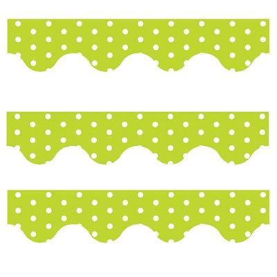 Green Polka Dots - Scalloped Borders (Pack of 12)