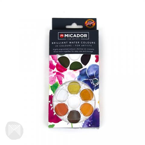 Micador For Artists Watercolour Disc- 24 Brilliant