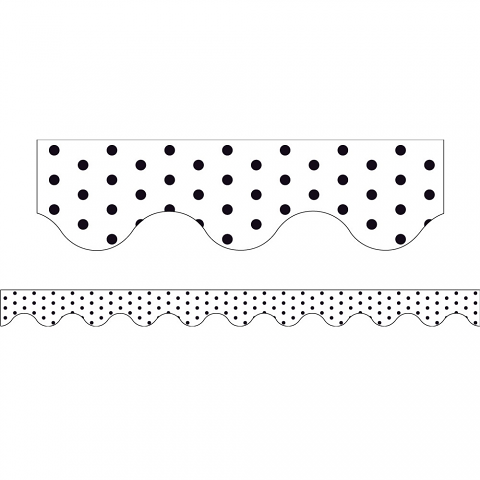 White Polka Dots - Magnetic Scalloped Borders (Pack of 12)