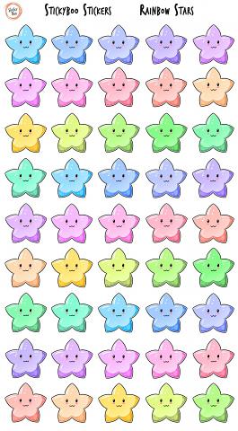 Sticky Boo Reward Stickers - Rainbow Stars