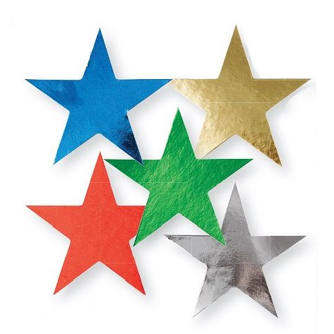 Foilboard Stars - 76mm 50pack Assorted