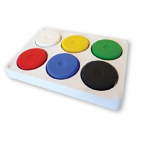 Tempera Paint Block Set of 6 with Palette