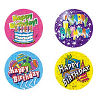 Happy Birthday Large Merit Stickers 40mm 48 pack #LMS162