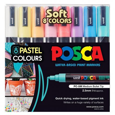 Posca Paint Markers Medium 2.5mm - Soft Wallet of 8