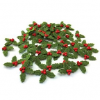 Felt Holly Adhesive Shapes 50 pack