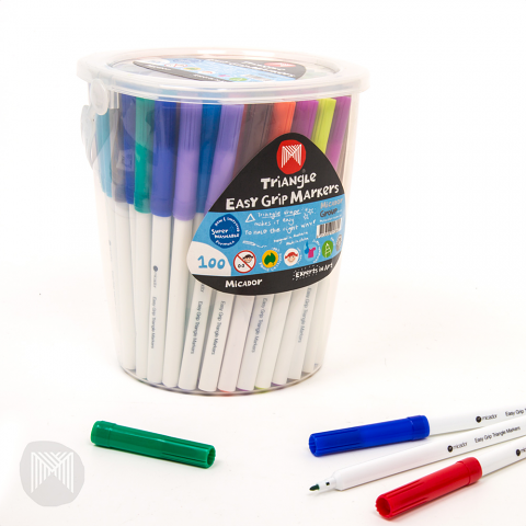 Micador Triangular Grip Markers 100pack